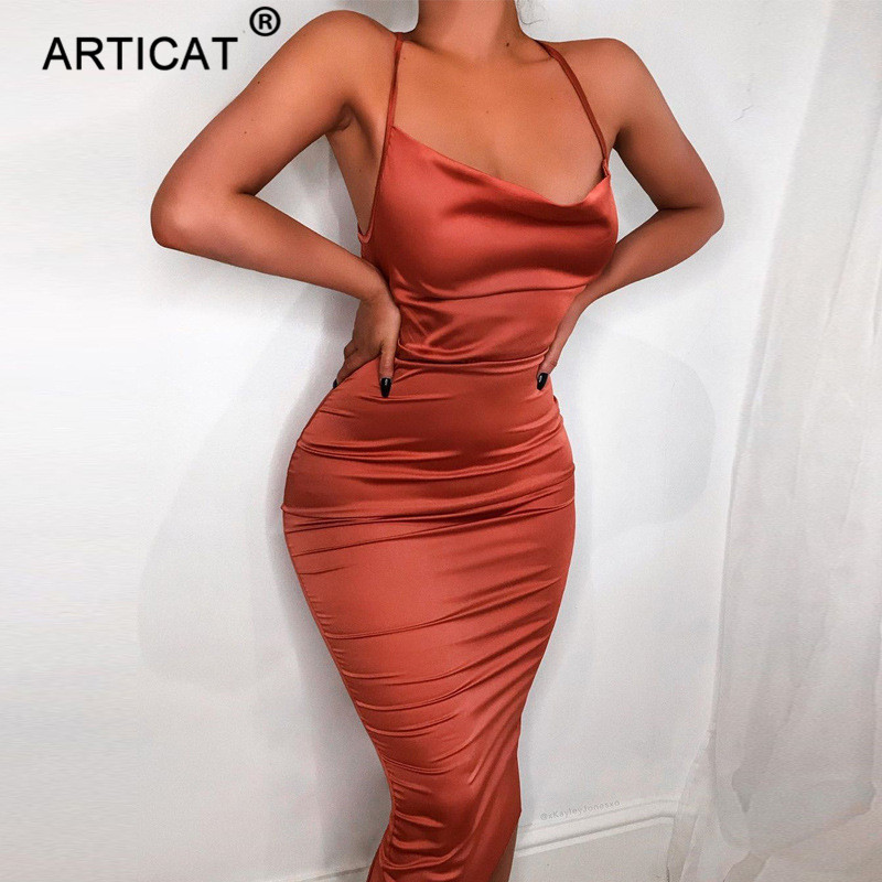 Articat Spaghetti Strap Sexy Backless Summer Dress Satin Lace Up Bodycon Midi Dress Skinny Elegant Beach Party Dresses Vestidos