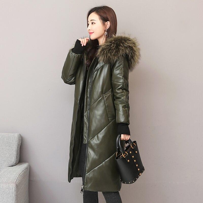 Moda de invierno, gran cuello de piel real con capucha, 90% plumón de pato, piel real para mujer, parkas de plumón más largo y grueso wq767