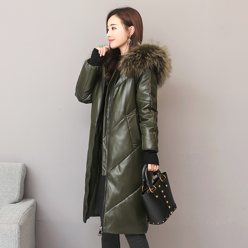 Winter fashion brand big real fur collar hooded 90% duck   down     coat   female real leather oversize longer thicker   down   parkas wq767