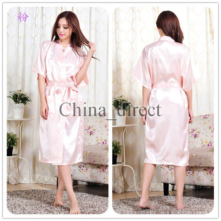 Unisex mens womens Solid plain rayon silk Robe Pajama Lingerie ... 5adb597c1