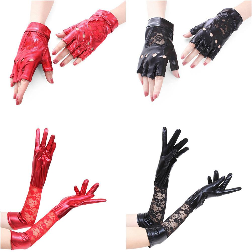 One Pair Red/Black Heart Shape Lace Sexy Patent Leather Gloves Performance Gloves Temptation Costumes Accessories Long/Short
