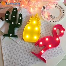 ФОТО 3D Cactus decor LED Light Romantic Flamingos LED Table Lamp Pineapple Photoprop Night Light Home Birthday Party Decoration