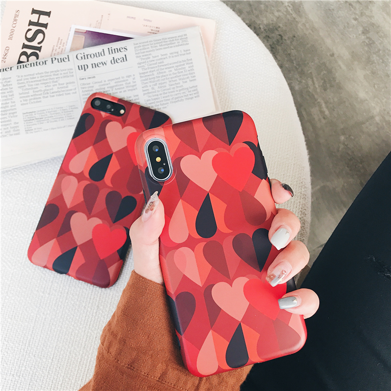 Galleria fotografica For iphone X 7 7Plus 8 8plus phone cases Retro love heart pattern soft silicon case for iphone 6 6s 6plus back cover