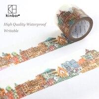 Kinbor Japanese Washi Tape Buildings Pattern DIY Deco Adhesive Tape Waterproof Writable Durable Masking Tapes Label