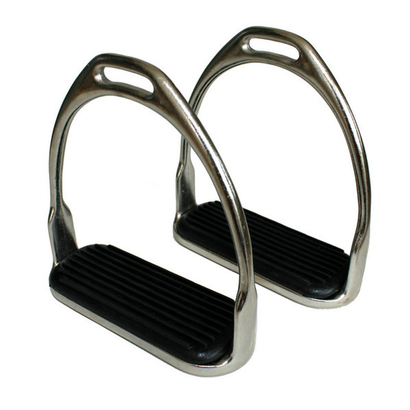 1 Pair Metal Safety Stirrups Horse Riding Rubber Treads Stirrup Equestrian Horsing Accessories Silver Outdoor Tool