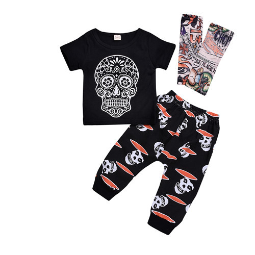 d2e4657c1c9fbd Halloween Toddler Kid Baby Boy Skull Tattoo Short Sleeve T-shirt Tops Pants  Leggings Summer Cotton Boys Outfit Clothes Set