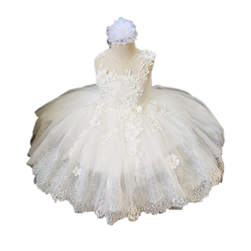 ФОТО BBWOWLIN Girls Dresses Baby Clothing Lace Baptism Christening Gowns Dresses for Toddler Little Girls Dresses 90207