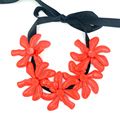 collier 2016 new Big Flowers Choker red maxi necklace Plant Resin rope Statement Necklaces & Pendant for Women bijoux femme