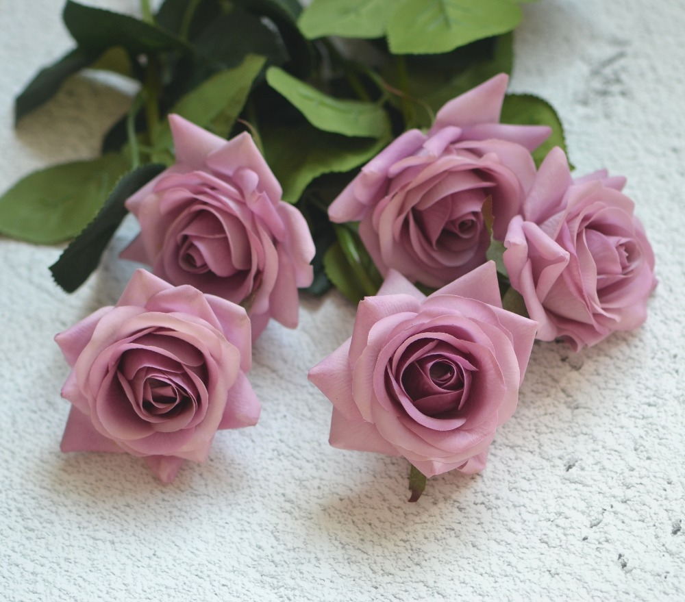 Mauve real touch silk roses diy silk bridal bouquets wedding mauve real touch silk roses diy silk bridal bouquets wedding centerpieces home flowers rose flowers party accessory in artificial dried flowers from home izmirmasajfo