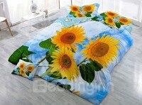 Vigorous Sunflower and Blue Sky Printed Cotton 3 Piece 3D Bedding Sets/Duvet Covers