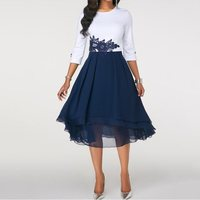 Summer Elegant Office Lady Red Sweet Big Size Vintage Women Dresses Retro Appliques Lace Party African Female Fashion Dress