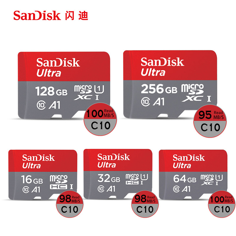 100% Original SanDisk Micro SD Card Reader 32GB 16GB 64GB 128GB U1 U3 4K Class 10 Memory Card Flash TF Card Free Adapter