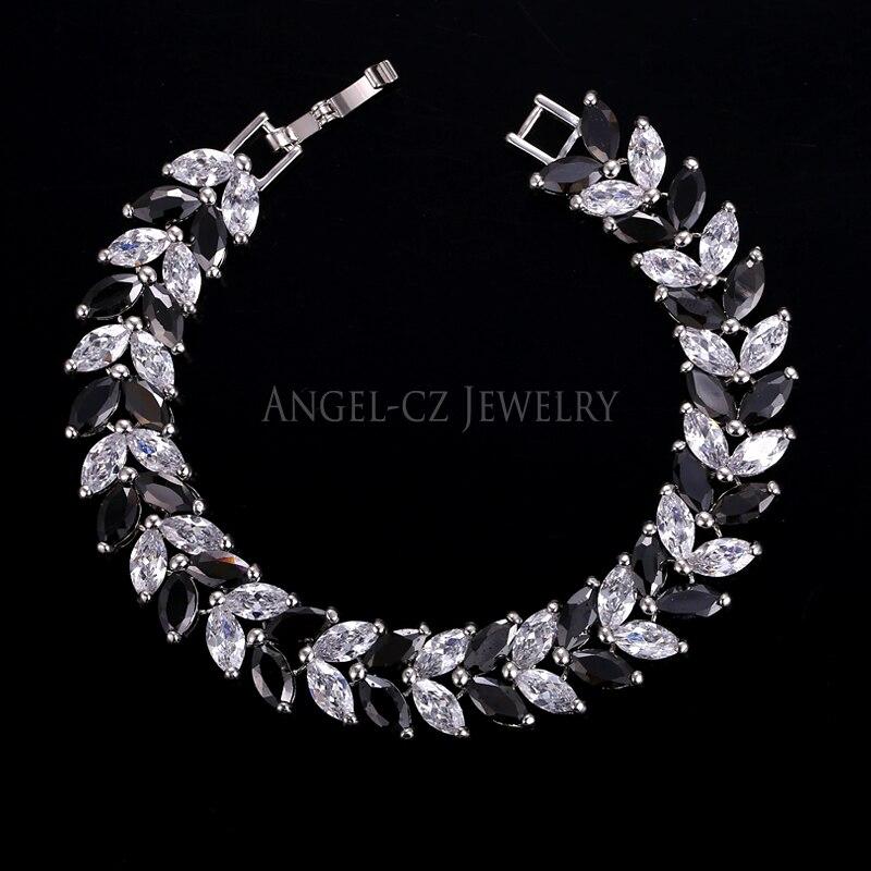 ANGELCZ 18 New Design Women Dress Jewelry Leaf Cubic Zirconia 925 Sterling Silver Strand Bracelet With Red Black Stone AB007 11