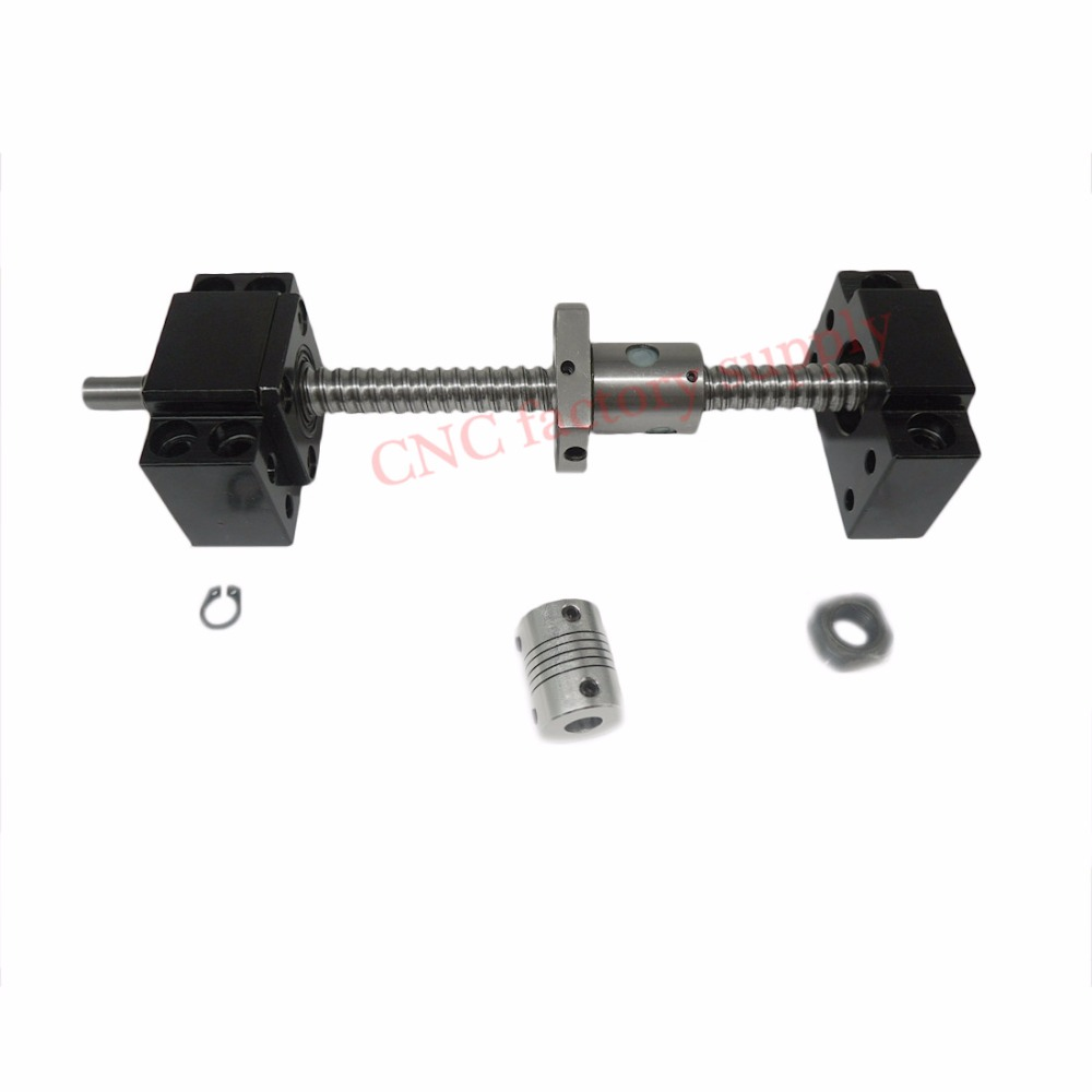 SFU1204 set:SFU1204 L-600mm rolled ball screw C7 with end machined + 1204 ball nut + BK/BF10 end support + coupler for CNC parts hiwin 1616 ballscrew 600mm c7 dia 16mm pitch with end machined and ball nut for cnc kit parts high speed