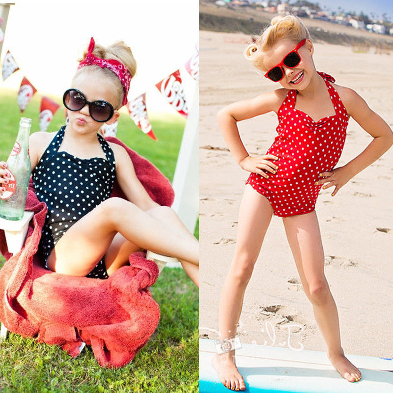 Girls Kids Polka Dot Swimsuit Tankini Swimwear Bikini Swimming Costume Swim Cap