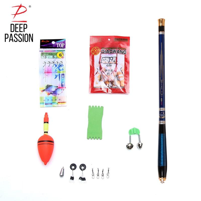 DEEP PASSION 9PCS Sea Fishing Rod Set Carp Holder for Fishing Pole Carbon Portable Telescopic Stick Pole Pesca Carp Fishing Rod
