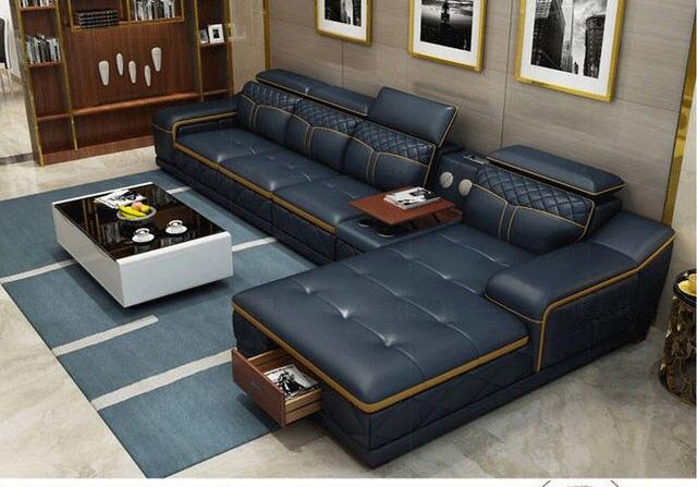 Tan Leather Living Room SofaFurniture Set  4