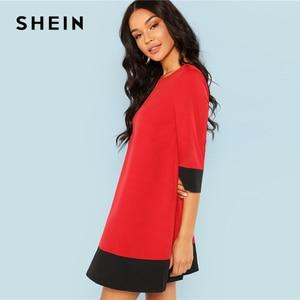 Image 2 - SHEIN Rode Contrast Trim Tuniek Jurk Werkkleding Colorblock 3/4 Mouwen Korte Jurken Vrouwen Herfst Elegante Rechte Mini Jurken