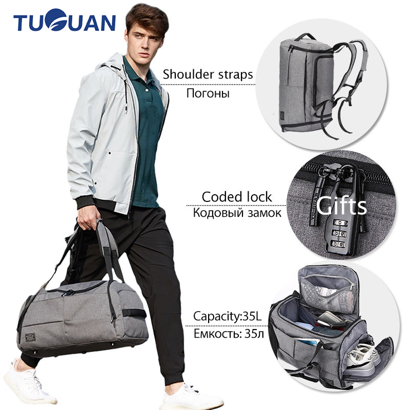 Quality Terylene Men Women Sport Fitness Bag Multifunction Tote Gym Bags With Shoes Storage Outdoor Travel