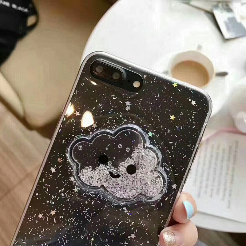 Cute Glitter Powder Smile Face Clouds Mobile Phone Case For iPhone X Soft TPU Dynamic Beads Back Cover For iphone 6 6s 7 8 Plus Case (4)