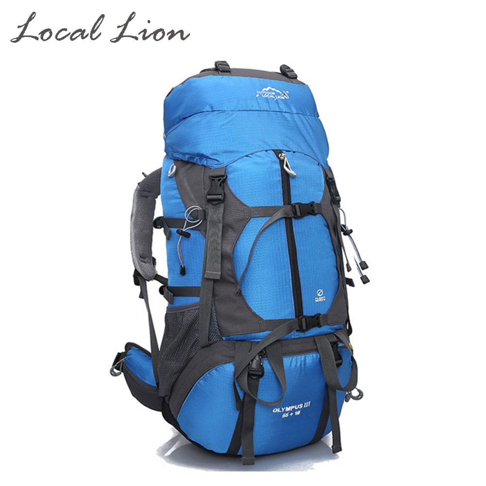 ФОТО Locallion 65L Professional Waterproof Nylon Mountaineering bag Outdoor Camping Hiking Backpack Travel Mochilas Backpack HT457