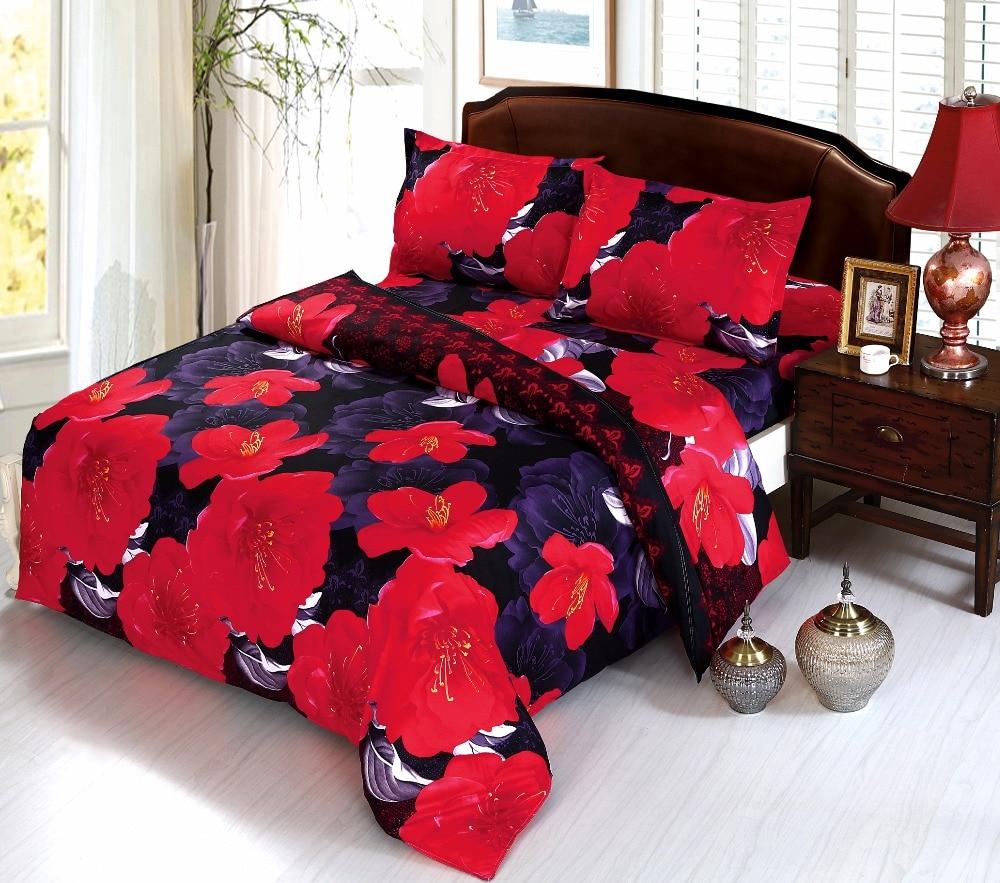 Beddingoutle 3d Purple And Dark Red Flower Bedding Set