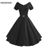 FRISMODE S 3XL Cute Polka Dot Print Summer Dress 2017 New V Neck Short Sleeve Midi