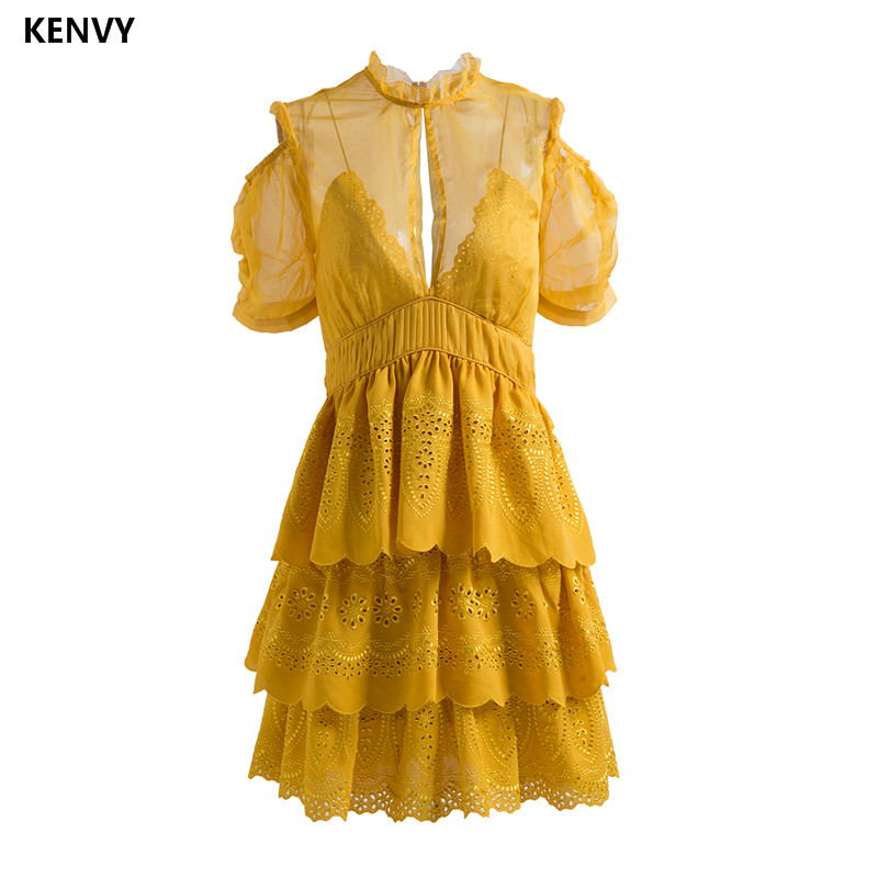 KENVY Brand Fashion Women's High end Luxury Summer Sexy New Embroidered Stitching Pleated Lace dress