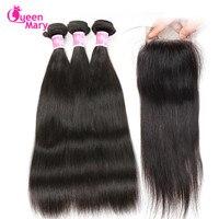 Queen Mary Hair Brazilian Straight Human Hair Bundles With Closure Straight Brazilian Hair Weave 3 Bundles