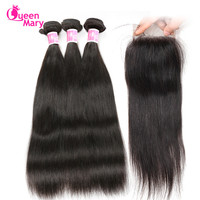 Queen Mary Hair Brazilian Straight Human Hair Bundles With Closure Straight Brazilian Hair Weave 3 Bundles