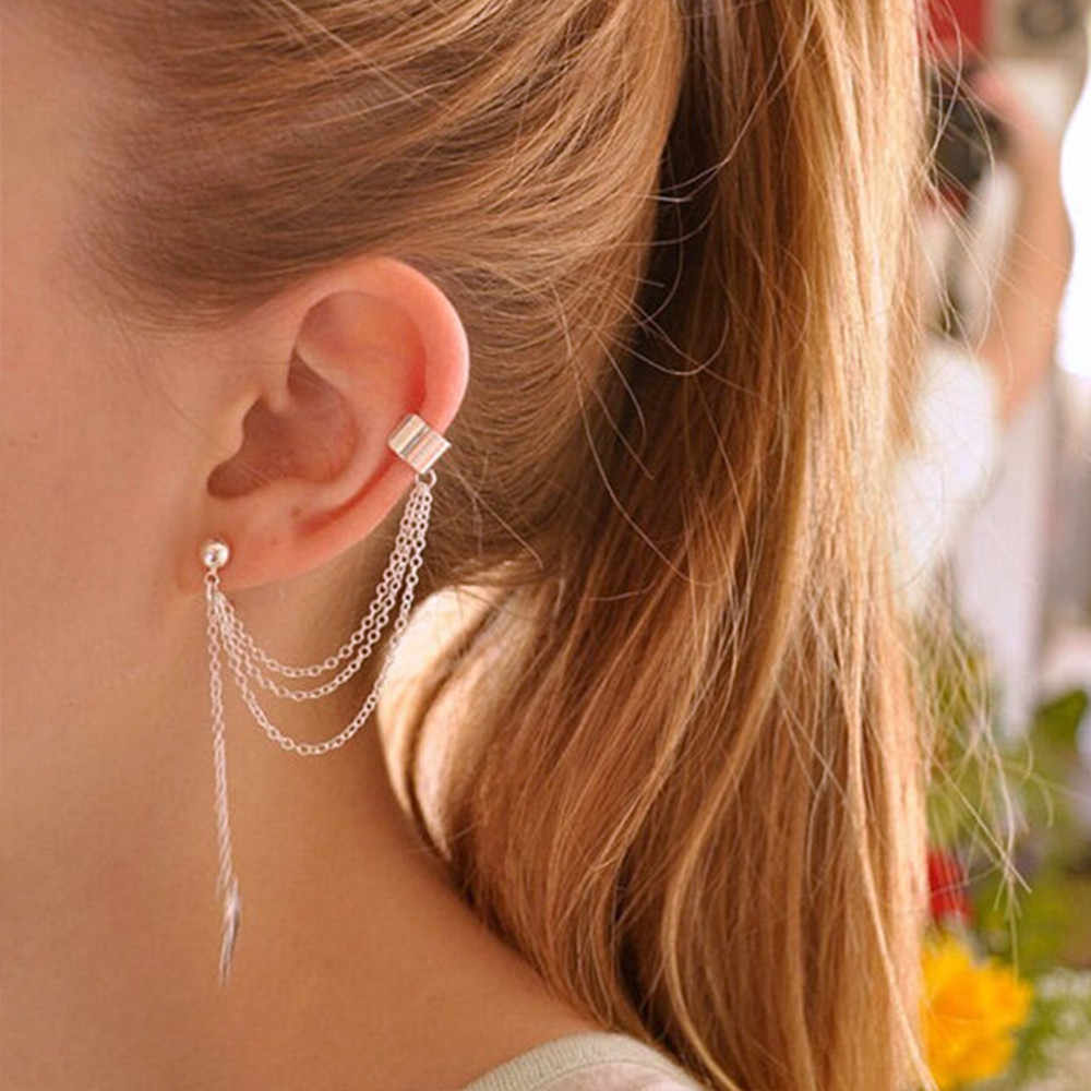 1piece Punk Rock Style Woman Young Gift Leaf Chain Tassel Earrings10.4