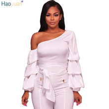 0cdd2188b1461a HAOYUAN One Shoulder Sexy Blouse 2018 Autumn Fashion Shirt Black Red White  Multi-layer Ruffle
