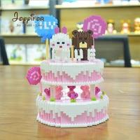 Joyyifor Mini Blocks Lovely Bear Rabbit Candy Pink Birthday Cake Micro blocks Building Bricks Model Toys for Girls Kids Gifts