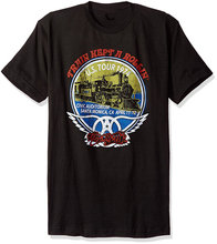 Cheap Mens Graphic T Shirts Aerosmith Train Kept A Rollin Short Sleeve Men Crew Neck Printed Tee