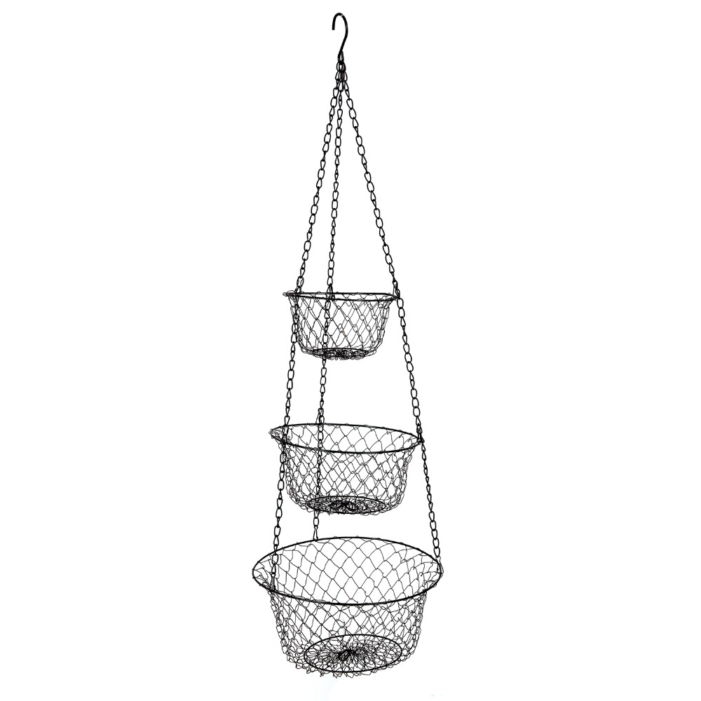 ... IARTS 3 Tier Foldable Hanging Fruit Vegetable Basket Food Storage  Strainer Net Metal Basket For ...