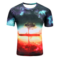 2017 New Twilight Tree Men S T Shirt 3D Short Sleeved Cotton Fashion Casual Round