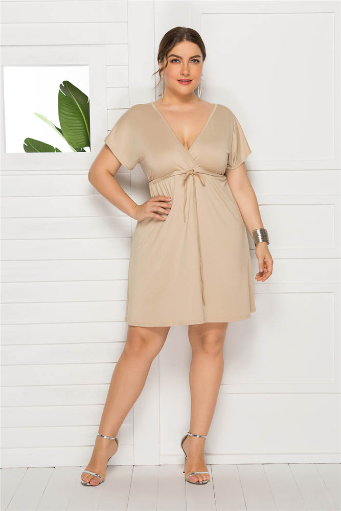 Plus Size 2019 Summer Lace up Dress Empire Waist Sexy V Cut Short Sleeves Holiday Beach Cocktail Party Dress eDressU LMT FP3316 in Dresses from Women 39 s Clothing