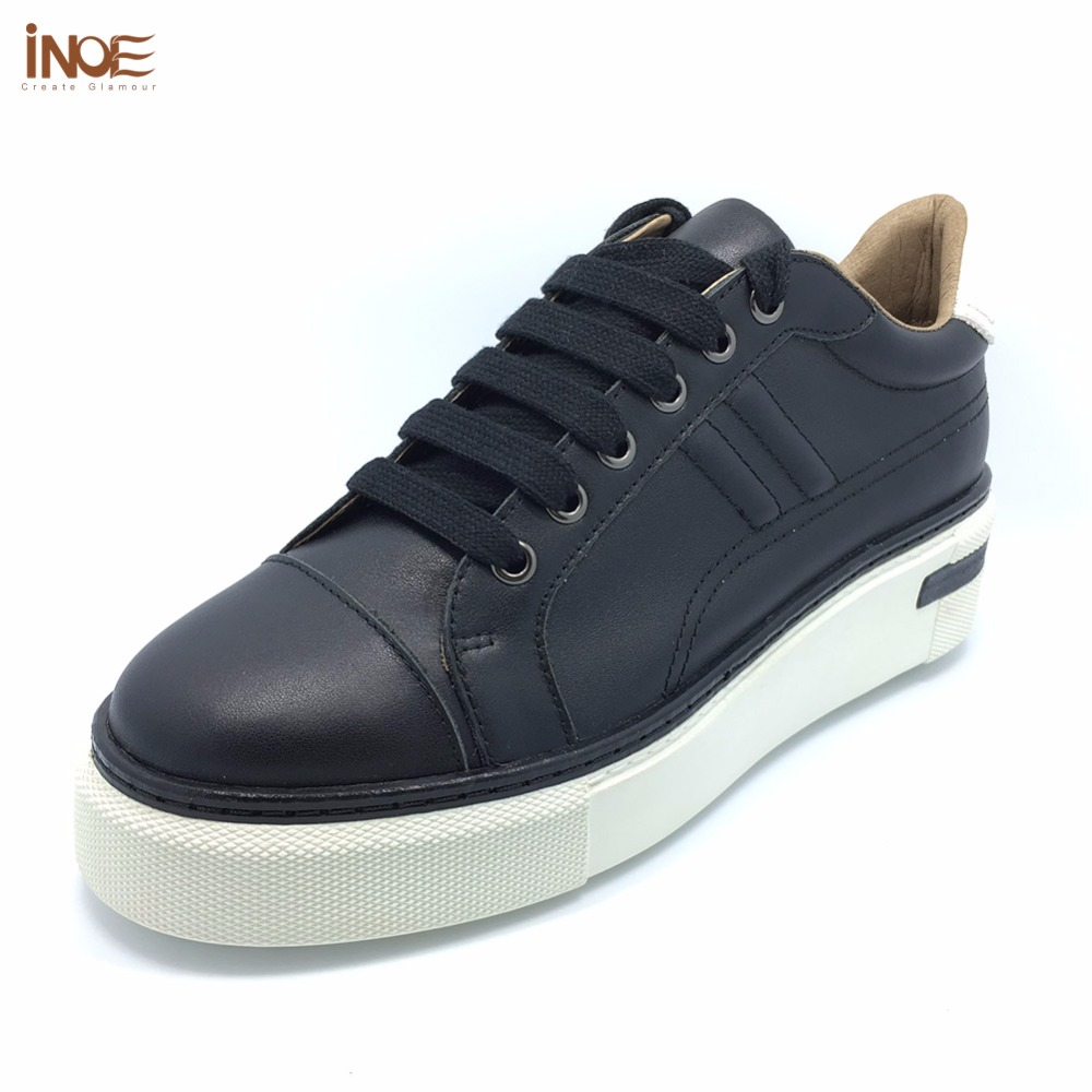 INOE 2018 Autumn new style fashion genuine cow leather men casual sneakers shoes lace up black flats leisure white shoes 35-42 2017 new spring imported leather men s shoes white eather shoes breathable sneaker fashion men casual shoes