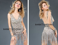 free shipping hot&sexy backless v neck luxury rhinestone vestido de festa short mini prom gown Party Mother of the Bride Dresses