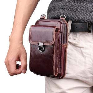 Image 2 - حقيبة خصر من الجلد الأصلي لهواتف آيفون/وسامسونج/سوني/إل جي حقيبة كتف ذكية مزودة بحزام لحمل الهواتف المحمولة دون 6.5 بوصة