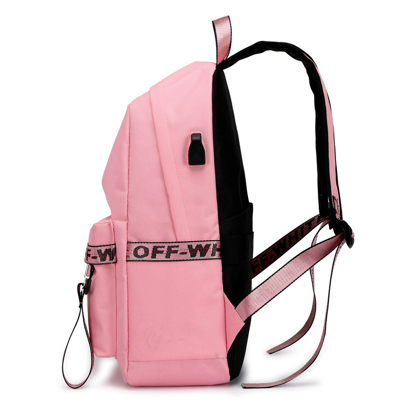 casual preppy style women backpack large capacity letter panelled student school backpacks USB Charging Backpack Laptop Backpack in Backpacks from Luggage Bags