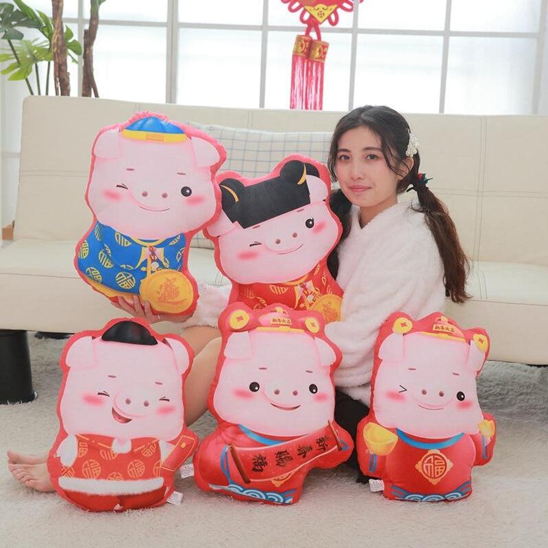 45cm Kawaii Lucky Pig Plush Pillow Stuffed Toys Cute Style Pig Pillow Sofa Cushion Decor Birthday Gifts for Kids Girls