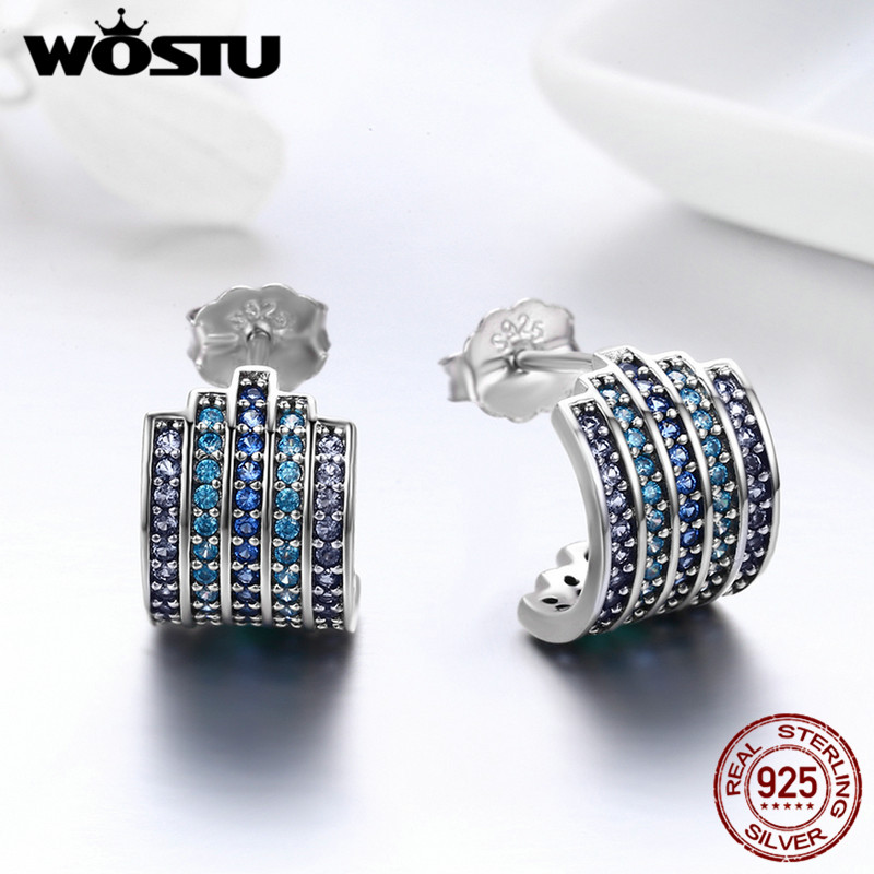 WOSTU Authentic 925 Sterling Silver Blue Cubic Zircon Simple Wide Dazzling Stud Earrings for Stylish Women Party S925 BKE285 pair of stylish double end faux zircon rhombus flower stud earrings for women