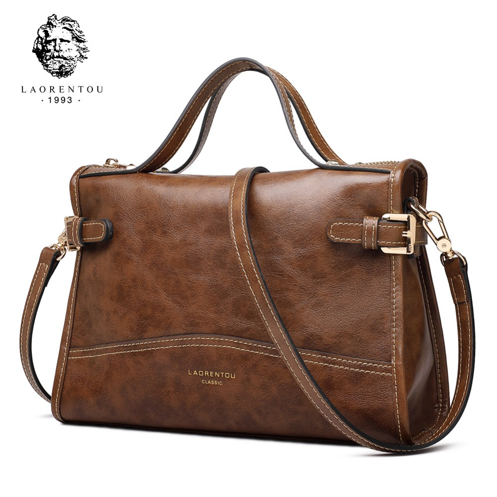 Laorentou Brand New Exclusive Customization Women Retro Handbags Lady Large Capacity Leather Messenger Bags Female Crossbody