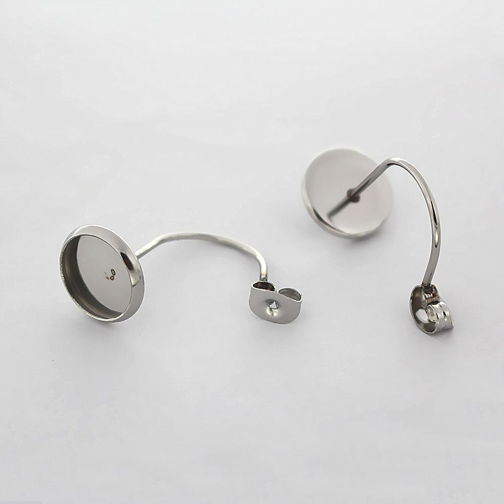 100 x Silver Plated EARRING EAR POST STUD WITH LOOP /& STOPPERS 12mm Findings