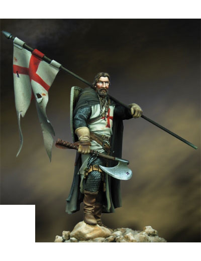 Assembly  Unpainted  Scale 1/24 75mm Ancient Knight Of The Cross 75mm   Figure Historical  Resin Model