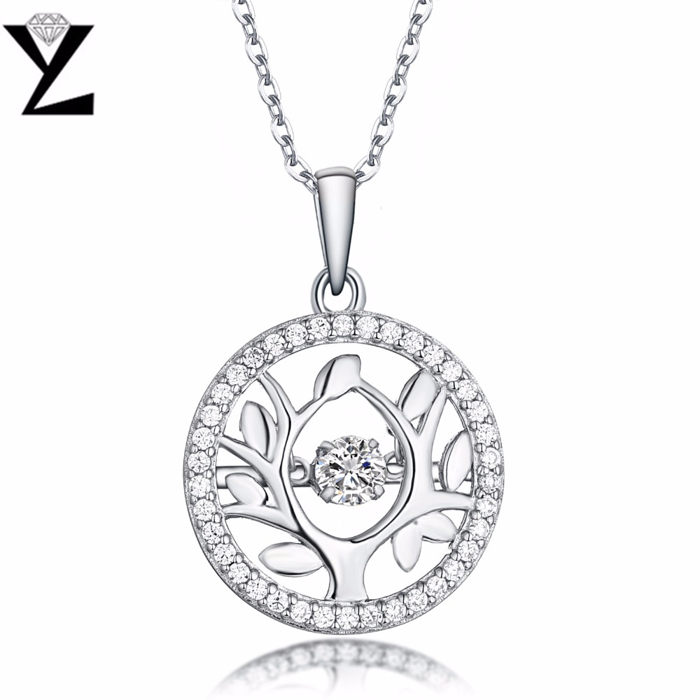 YL Tree of Life 925 Sterling Silver Necklaces Fashion Fine Jewelry Topaz Natural Stone Wholesale Price