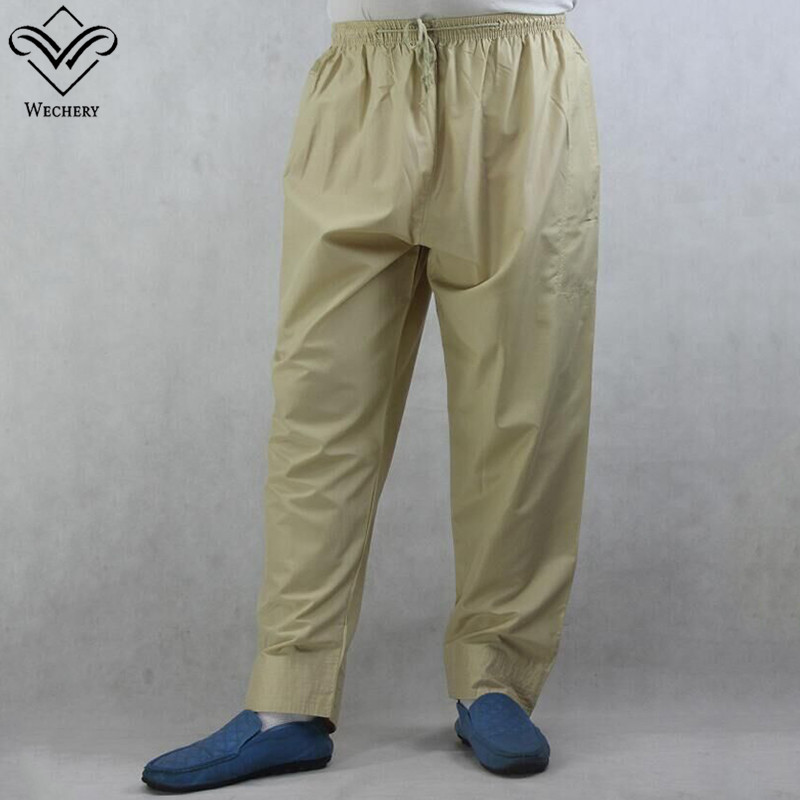 Wechery Pakistan Islamic Clothing Mens Saudi Pants Elastic Long Abaya Clothes