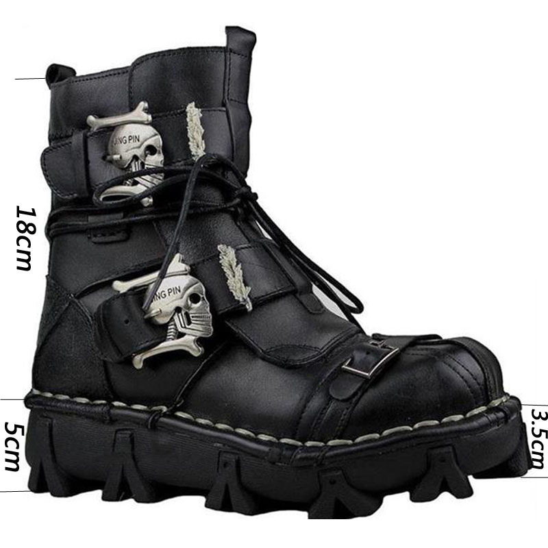 38~50 Men boots Natural leather Punk Rocker Retro genuine leather Motorcycle Boots #1809/1990