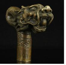 100% bronze Pure Copper Brass Grandpa Good Lucky China Old Handwork Carving Bronze Dragon Statue Cane Head Walking Stick